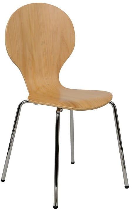 Krzesło ze sklejki, stelaż chromowany. Model TDC-122.