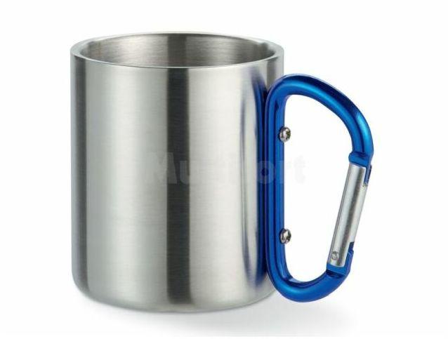 Metalowy kubek na karabińczyku niebieskim