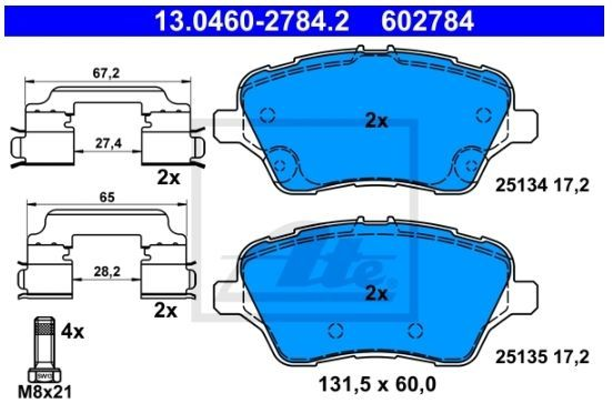 klocki hamulcowe B-Max - oś przednia ATE 13.0460-2784.2