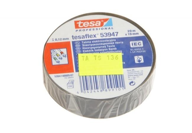Taśma elektroizolacyjna 5000V PVC Tesa czarna, długość 20 m, szerokość 19 mm (53988-00006-00)