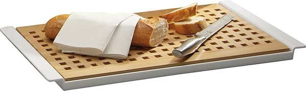Deska prostokątna drewniana do krojenia pieczywa jasnobrązowa 520x340x20mm