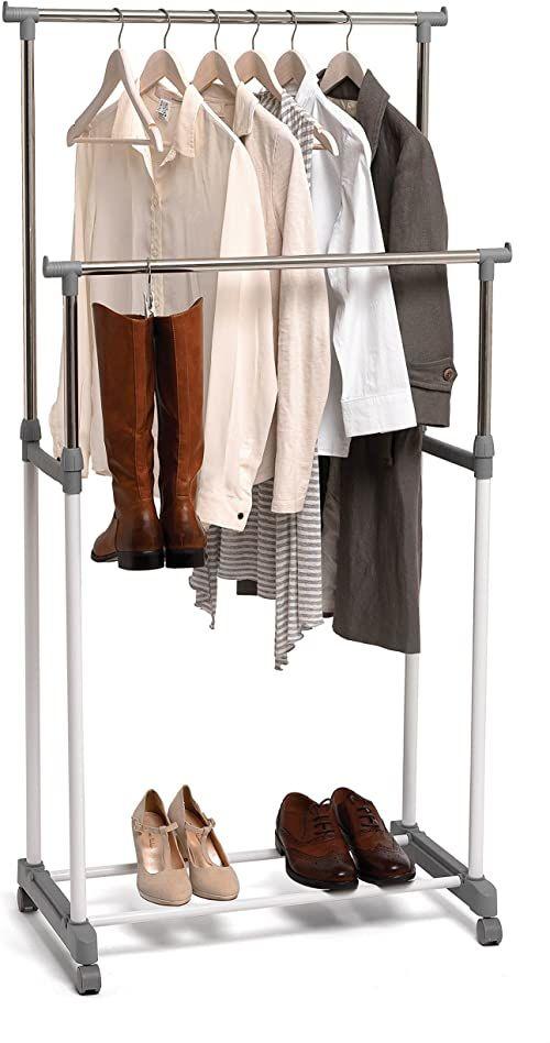 Domopak Duży podwójny wieszak na ubrania, wieszak na ubrania, drążek na ubrania z regałem na buty,