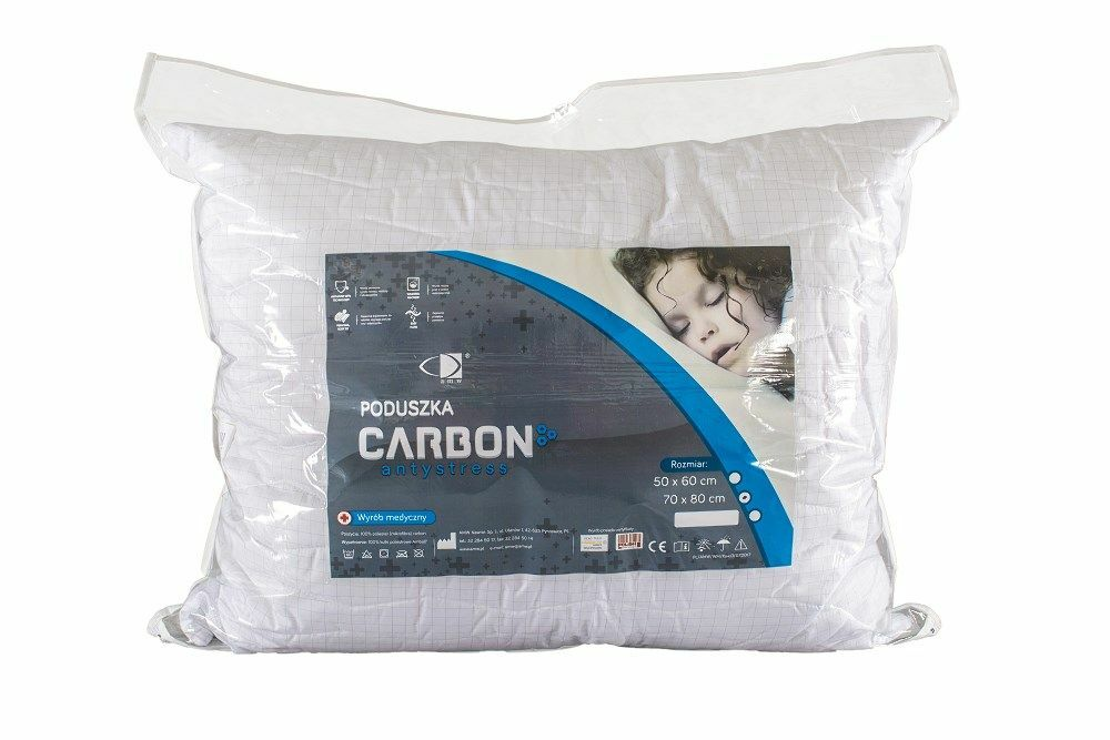 Poduszka Carbon Antystres 70x80 biała antyalergiczna AMW