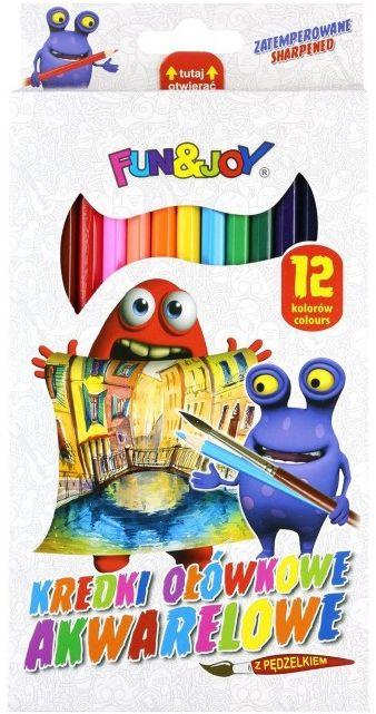 Kredki akwarelowe 12 kolorów plus pędzel Fun&Joy 342648 684009