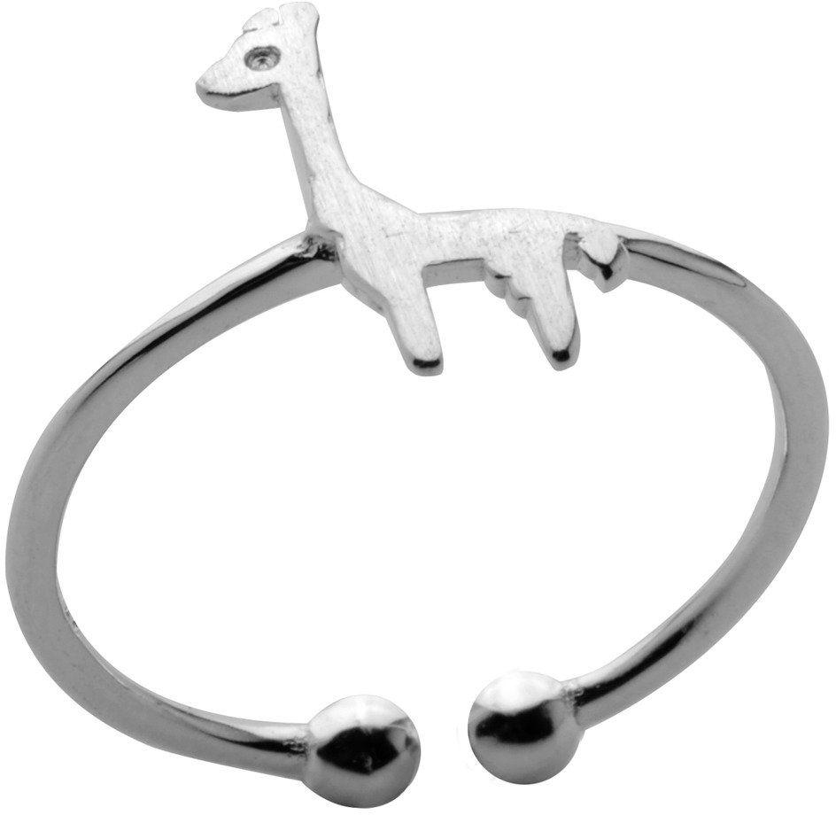 Srebrny Pierścionek z Żyrafą Regulowany Rozmiar