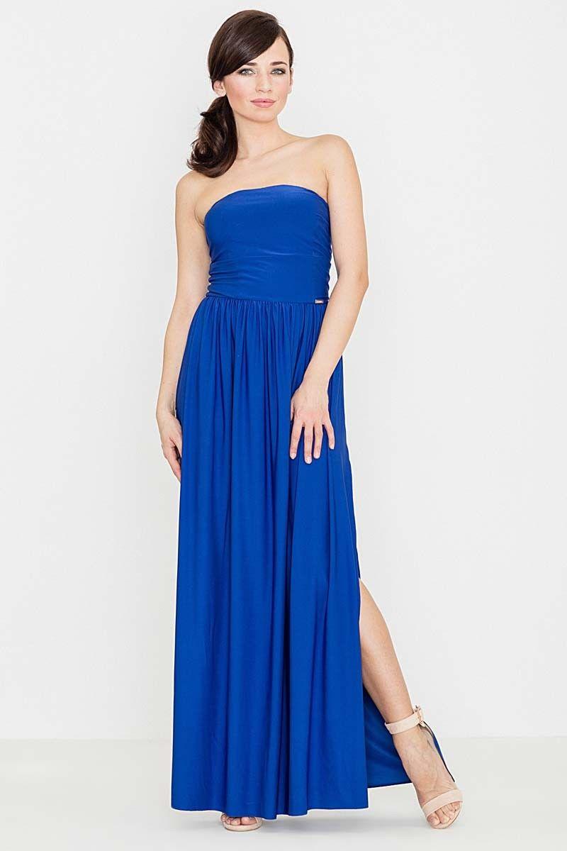 Niebieska zmysłowa gorsetowa maxi sukienka