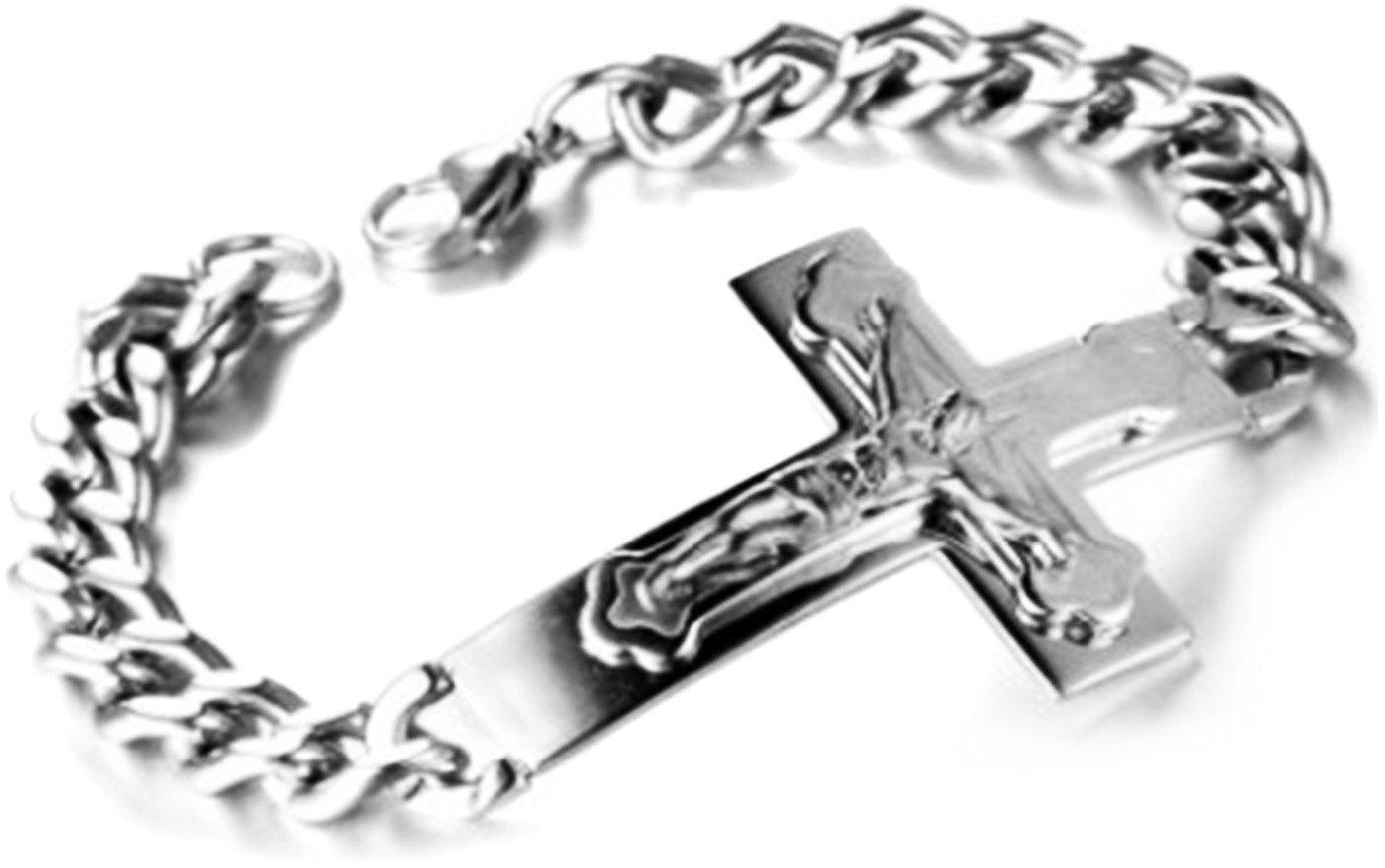 Bransoletka Stal Chirurgiczna Krzyż z Jezusem