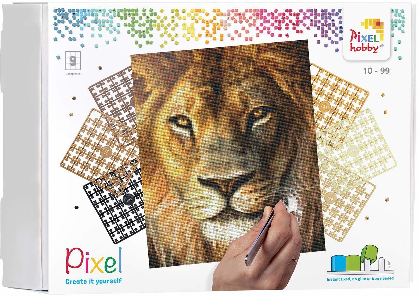 Pixel P090046 Mozaika opakowanie na prezent lew Obraz pikselowy około 30,5 x 38,1 cm rozmiar do tworzenia dla dzieci i dorosłych, kolorowy