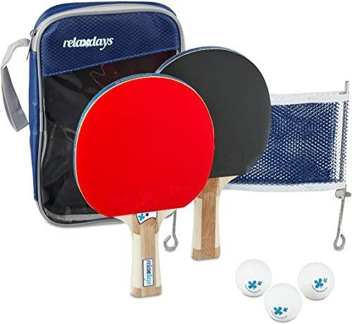 Relaxdays Zestaw do tenisa stołowego z siatką, wys. x szer. x gł.: 27 x 17 x 5 cm, 2 rakiety stożkowe, 3 piłki do tenisa stołowego, torba, niebieska