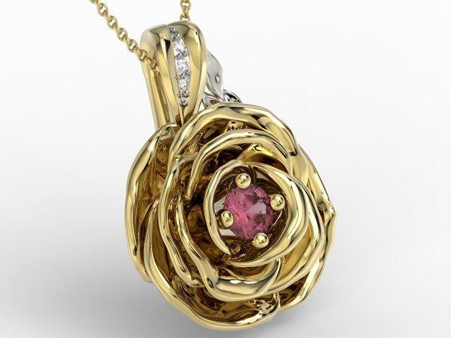 Wisiorek z żółtego i białego złota w kształcie róży z rubinem i diamentami apw-95zb