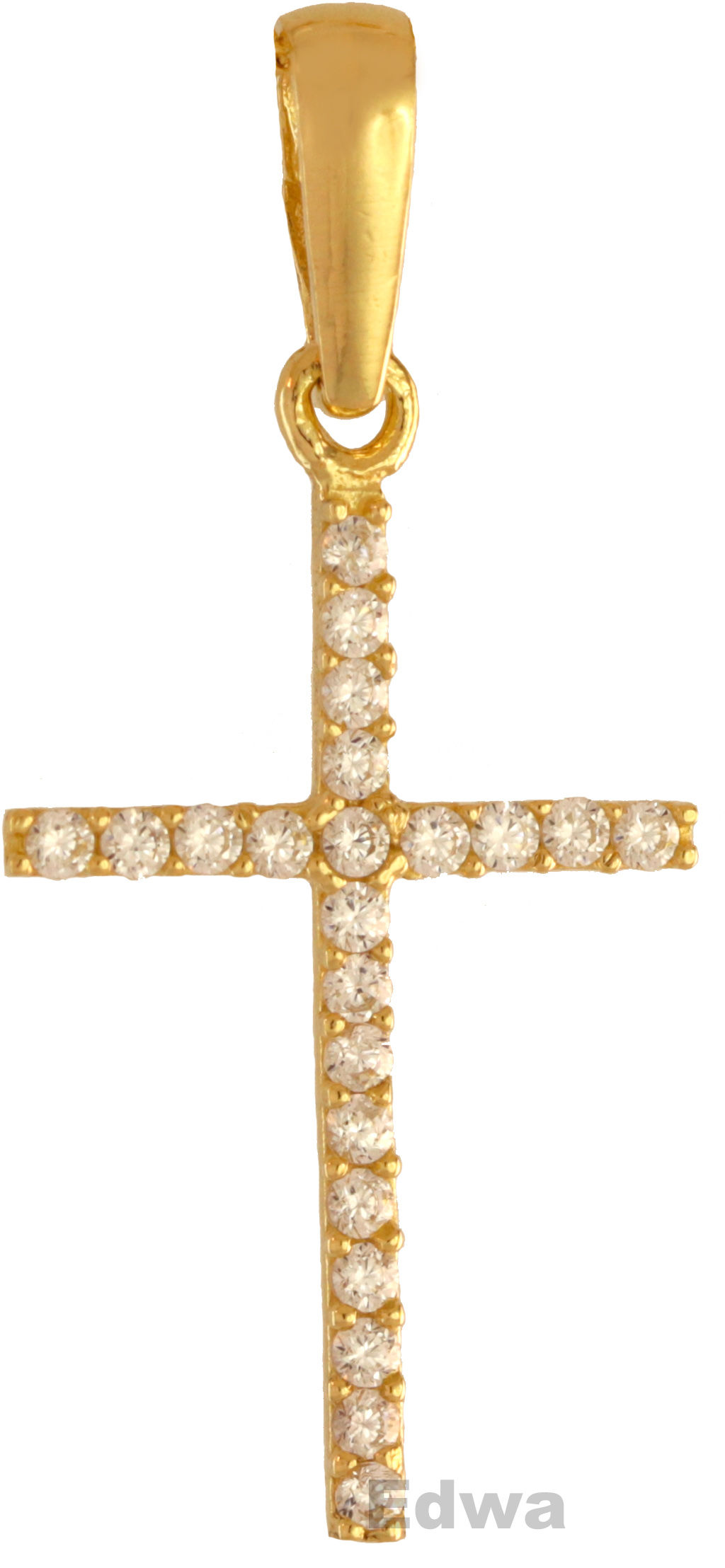 Zawieszka złota Krzyżyk z cyrkoniami pr.585