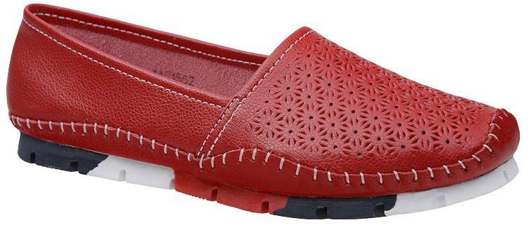 Półbuty Mokasyny LANQIER 44C1552 Czerwone wsuwane Baleriny - Czerwony
