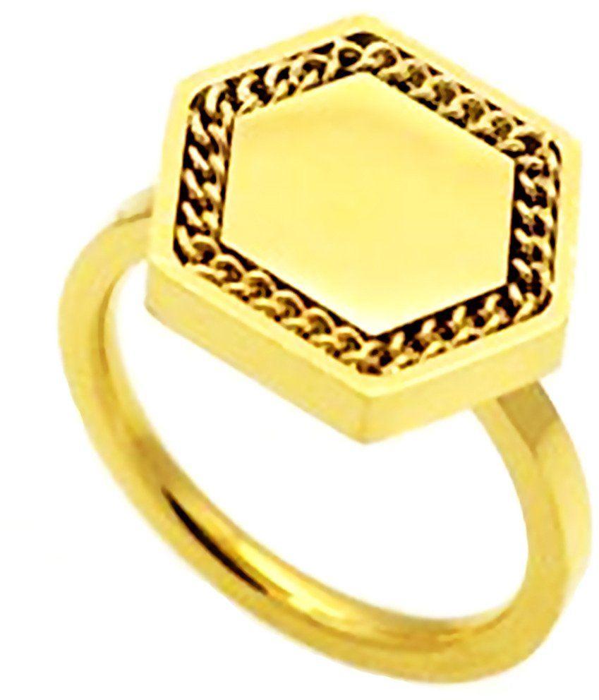 Złoty Pierścionek ze Stali Szlachetnej