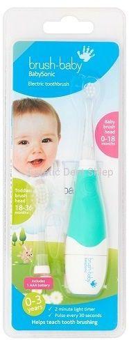BRUSH-BABY Babysonic PRO - szczoteczka elektryczna, soniczna dla dzieci w wieku 0-3 lat zielona