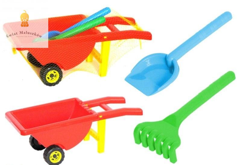 Zestawy zabawek na plaże taczki grabki łopatki
