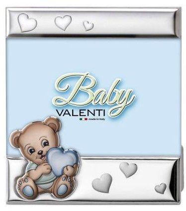 Ramka dziecięca na zdjęcie plexiglass Miś z sercem Rozmiar: 10x15 cm Kolor: Niebieski SKU: VL73208/3XC