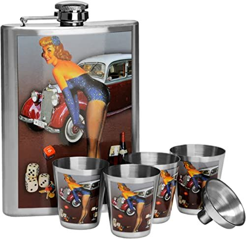 Premier Housewares 0508086 piersiówka zestaw, wzornictwo ze stali nierdzewnej, butelka 8 uncji 4 filiżanki Funnel