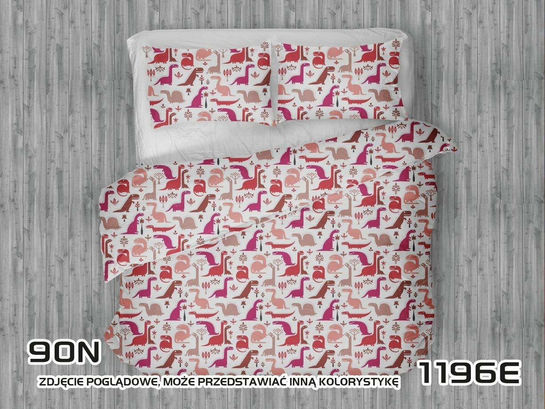 Pościel bawełniana 90x120 1196E biała Dinozaury czerwone różowe amarantowe