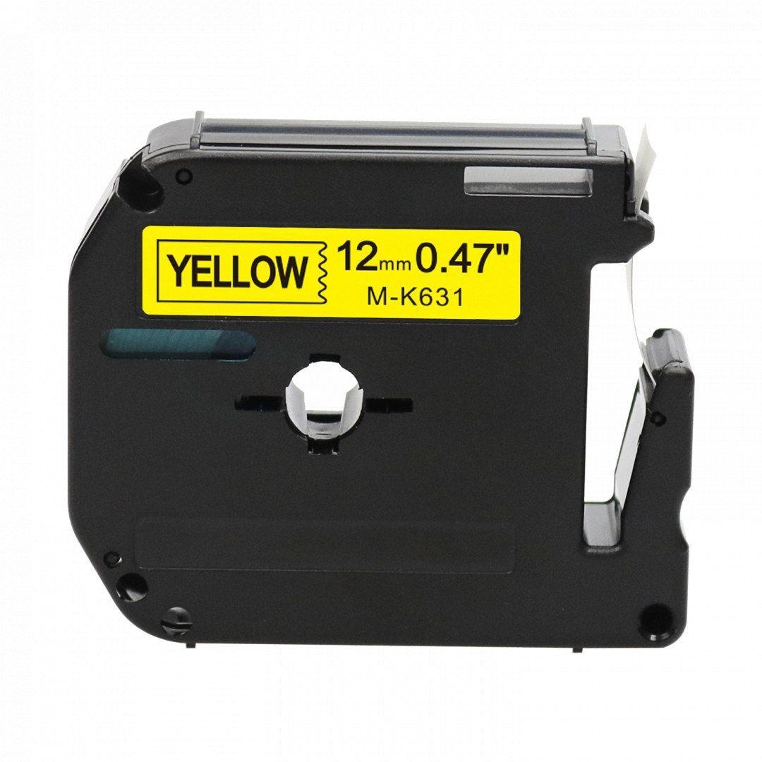 Taśma Brother M-K631 żółta 12mm x 8m M-tape nielaminowana - zamiennik OSZCZĘDZAJ DO 80% - ZADZWOŃ! 730811399