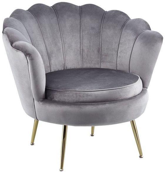 Nowoczesny fotel muszelka VIDAL Z WELURU w kolorze SZARYM na złotych nogach