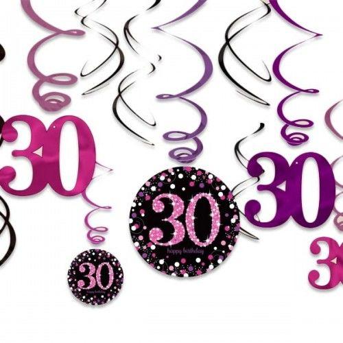 Świderki, dekoracja na 30 urodziny różowa Sparkling Celebration