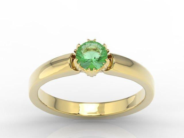 Pierścionek zaręczynowy z żółtego złota ze szmaragdem bp-2130z