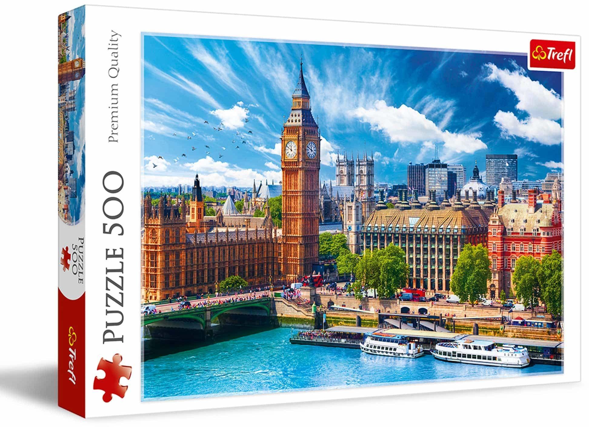 Trefl Słoneczny Londyn Puzzle 500 Elementów o Wysokiej Jakości Nadruku dla Dorosłych i Dzieci od 10 lat