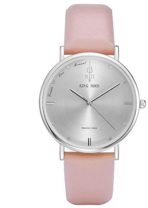 Elegancki zegarek KING HOON srebrny na różowym pasku