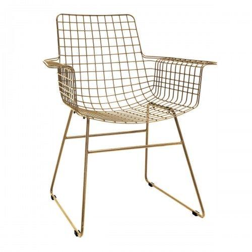 Metalowy fotel druciany Wire w kolorze mosiądzu