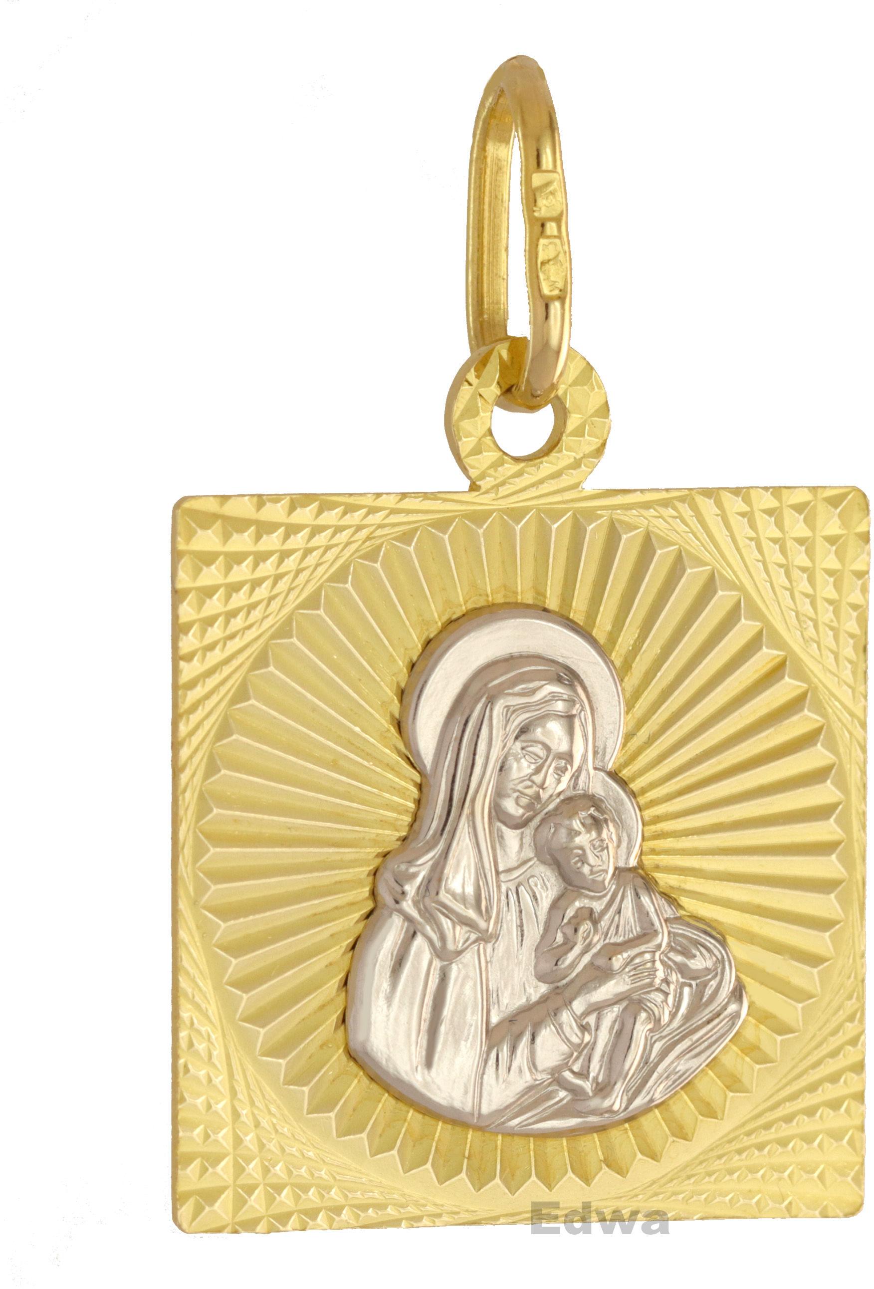 Zawieszka medalik złoty, Matka Boska z dzieciątkiem pr.585
