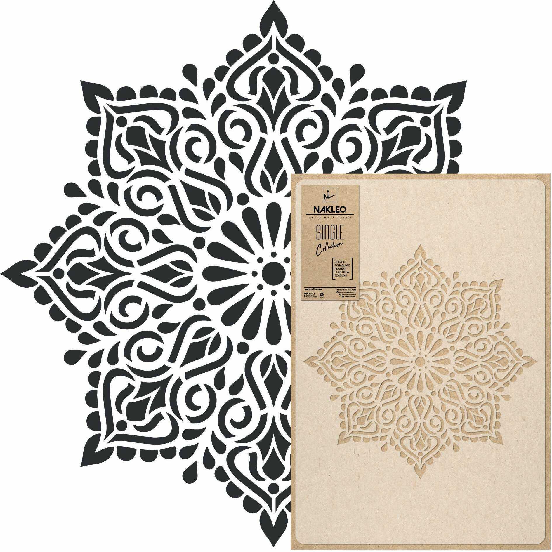 szablon malarski wielokrotny // KWADRATOWA MANDALA - MEDIUM (45x65cm)