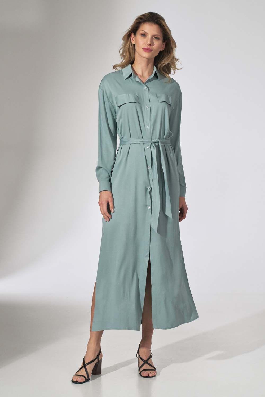 Długa koszulowa sukienka z paskiem - miętowa