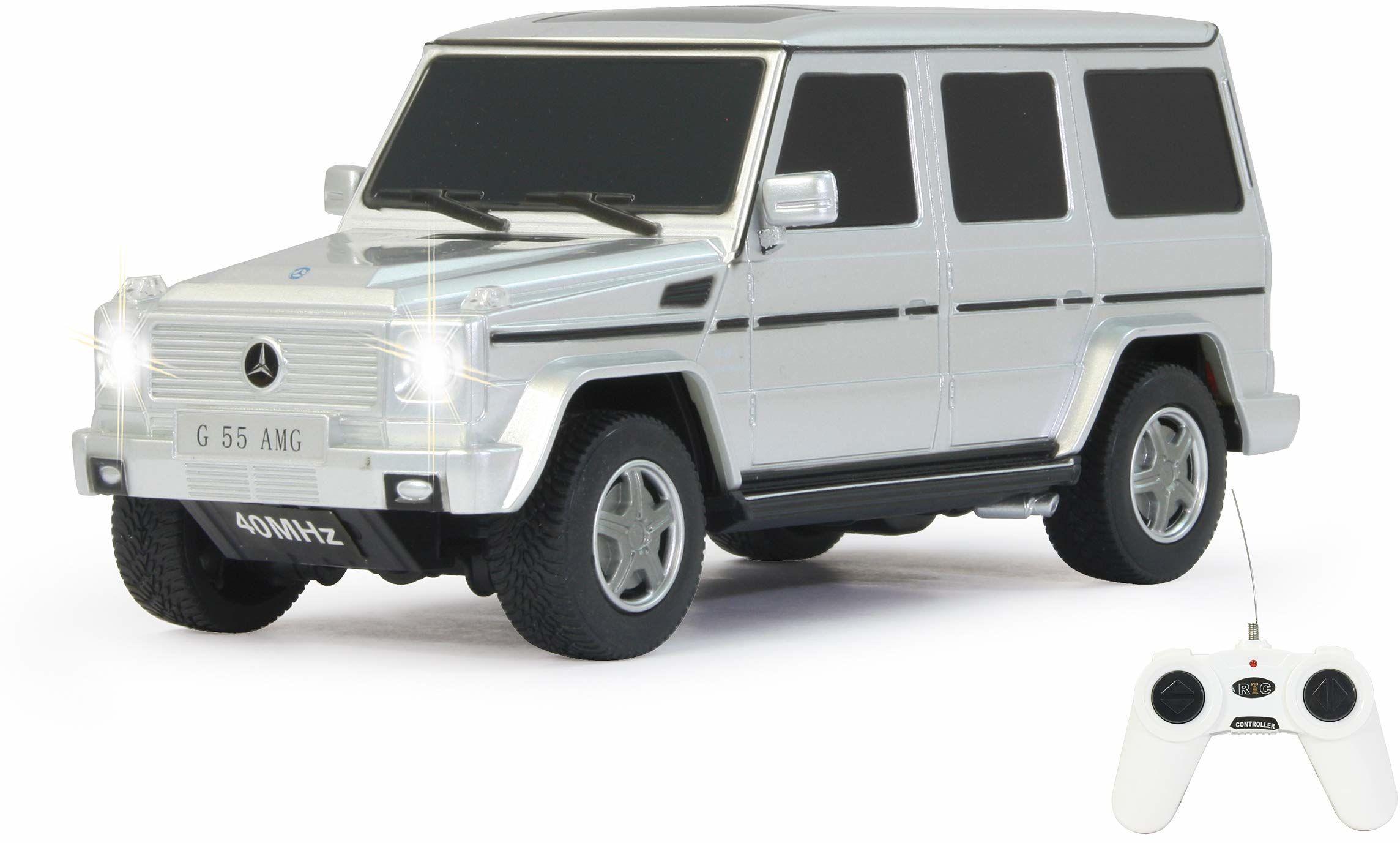 Jamara 404016 Auto Mercedes-Benz G55 AMG 1:24 40 MHz, 1 godzina jazdy przy ok. 9 km/h, perfekcyjnie odwzorowane szczegóły, wysoka jakość wykonania, srebrny