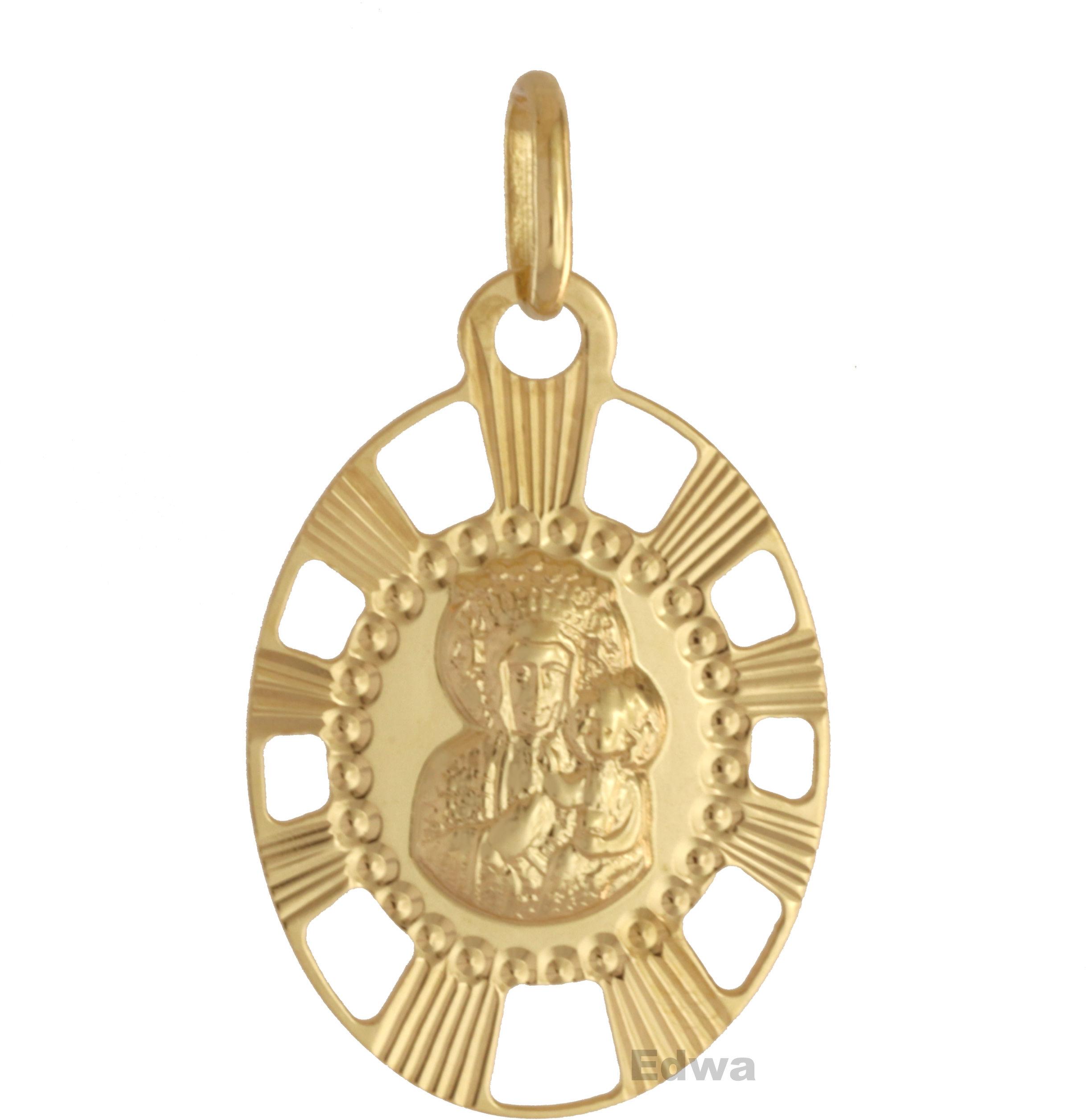 Zawieszka złota medalik z wizerunkiem Matki Boskiej z dzieciątkiem pr.585