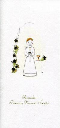 Karnet Komunia Chłopiec winogrona MAK