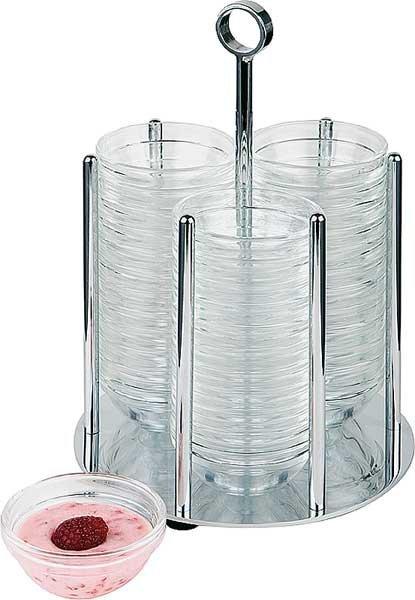Dyspenser do 36 miseczek o średnicy 50mm z pojemnikami szklanymi śr. 140x(H)255mm