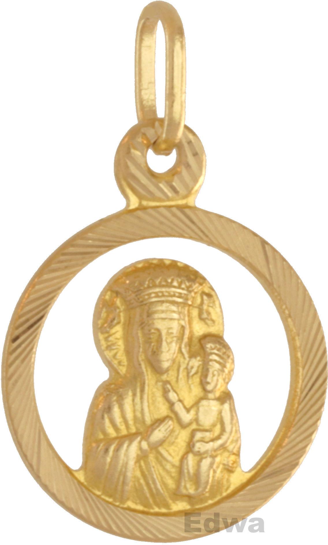 Zawieszka złoty Medalik z wizerunkiem Matki Boskiej z dzieciątkiem pr.585