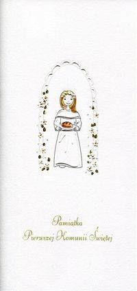 Karnet Komunia Dziewczynka chleb MAK