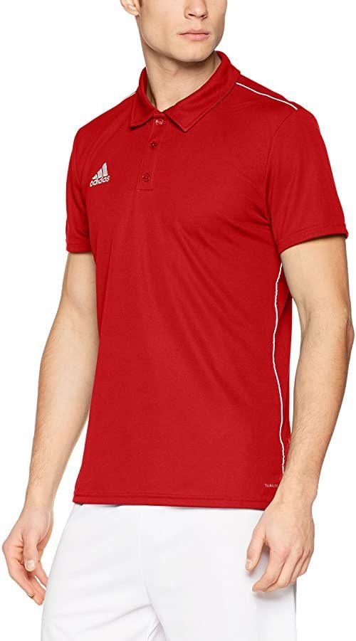 adidas Męska koszulka polo Core18 czerwony czerwony/biały (power red/White) XS