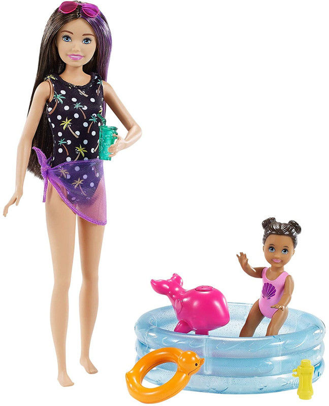 Barbie Skipper opiekunka z bobaskiem i basenem GRP39