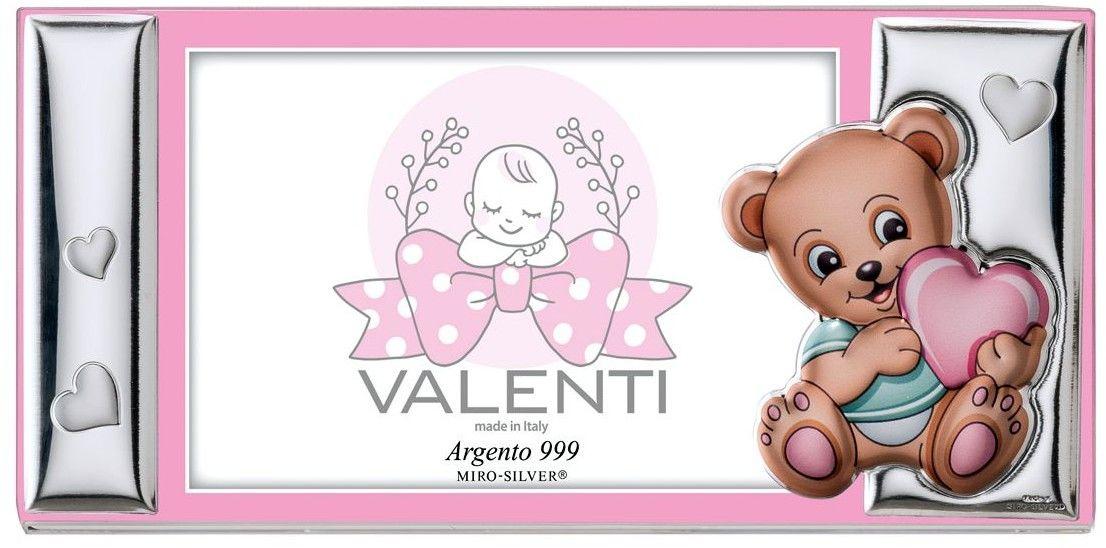 Ramka dziecięca na zdjęcie plexiglass Miś z sercem Rozmiar: 13x9 cm Kolor: Różowy SKU: VL73208/3R