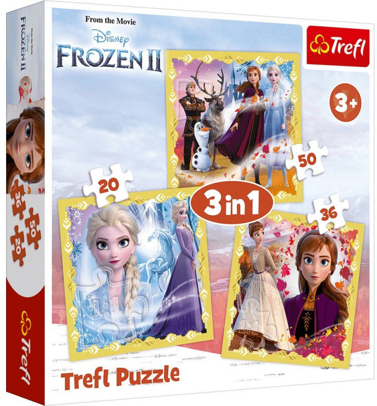 Puzzle 3w1 Kraina Lodu 2, Moc Anny i Elsy