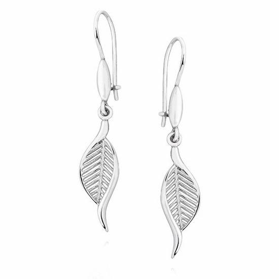 Eleganckie rodowane wiszące srebrne kolczyki celebrytka ażurowe liście listki srebro 925 KS0193D