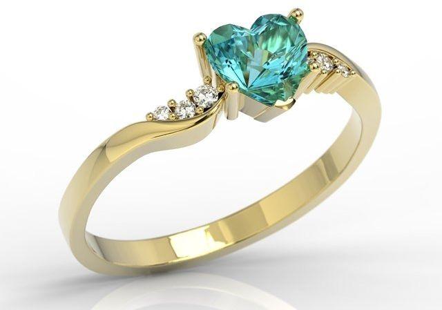 Pierścionek z żółtego złota z topazem swarovski blue i brylantami lp-70z