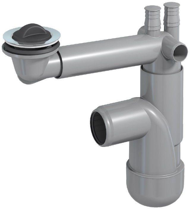 Syfon Flexloc , zlew., but., poj.,70 mm, kor. gum., przył. do pralki i zmywarki, podł. do przelewu 40/50 mm. (25)