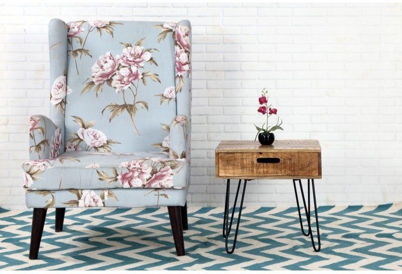 Stolik z szufladą drewniany INVICTA SCORPION 50 cm czarne nogi