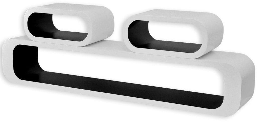 Zestaw biało-czarnych półek ściennych - Mins 2X