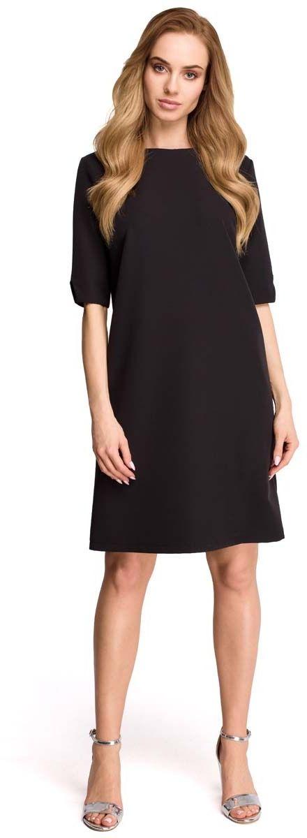 Czarna wizytowa sukienka z dekoltem na plecach