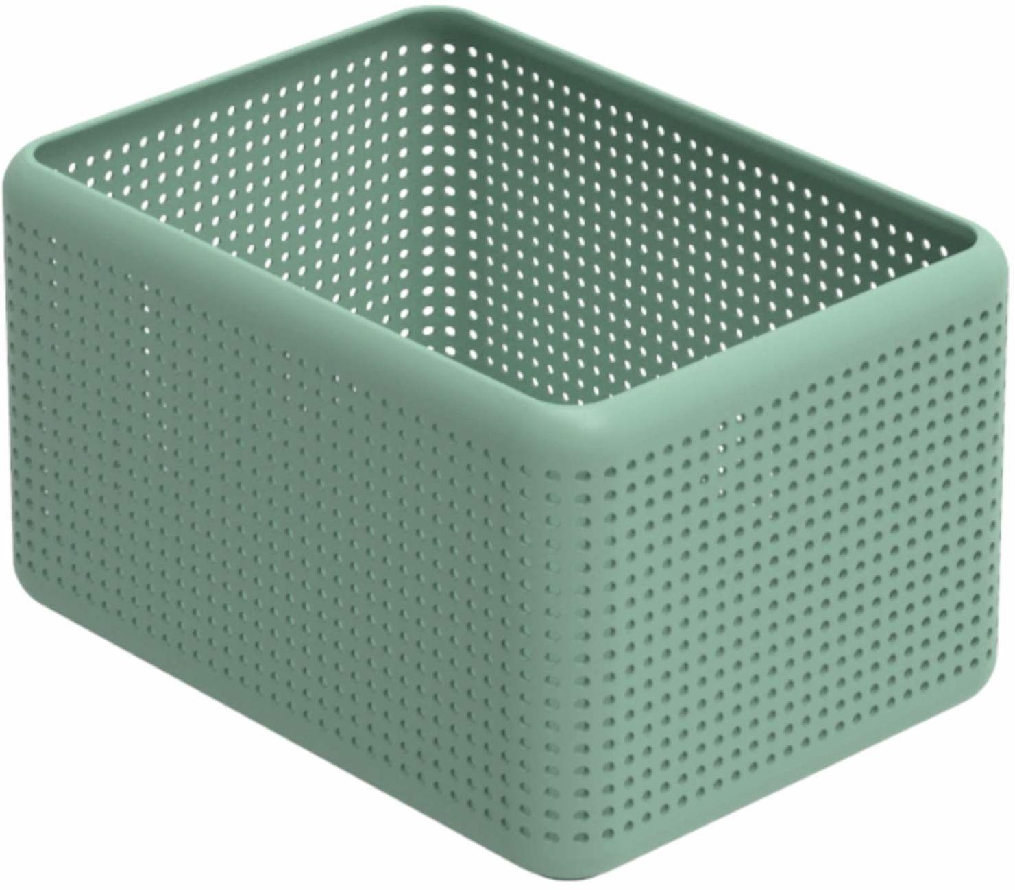 Rotho, Madei, pudełko do przechowywania bez pokrywki 13 l, plastik (PP) bez BPA, zielony, 13 l (32,6 x 23,8 x 18,8 cm)