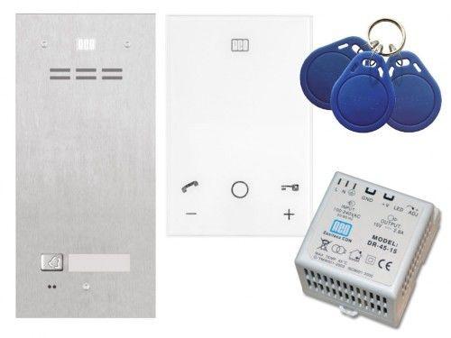 Domofon głośnomówiący ACO Familio z czytnikiem zbliżeniowym - Zestaw jednorodzinny podtynkowy